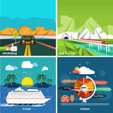 Icons set of traveling and planning a vacation Royalty Free Stock Photography