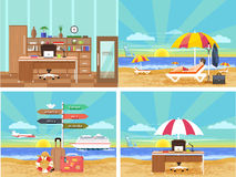 Icons set of traveling and planning vacation Stock Photo