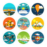 Icons set of traveling and planning vacation Royalty Free Stock Photography
