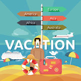 Icons set of traveling and planning vacation Stock Images