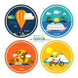 Icons set of traveling and planning a vacation Stock Images