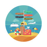 Icons set of traveling and planning vacation Royalty Free Stock Photo