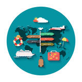 Icons set of traveling and planning vacation Royalty Free Stock Images