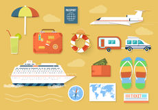Icons set of traveling and planning a vacation Stock Image
