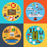 Icons set of traveling, tourism, hiking Royalty Free Stock Image
