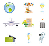 Icons Set of Traveling, Tourism and Journey Objects Vector Royalty Free Stock Photos