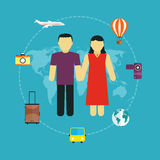 Icons set of traveling,  tourism and journey planning a summer vacation Royalty Free Stock Photography