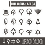 Icons set tree line black Modern Style design elements Geometry Stock Images