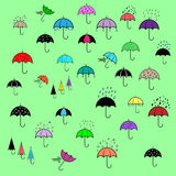 Icons set with umbrellas Royalty Free Stock Images