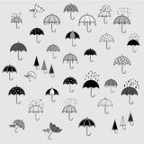 Icons set with umbrellas Stock Images