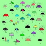 Icons set with umbrellas Stock Image