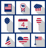Icons Set USA Flag Color Independence Day 4th of July. Patriotic Symbolic Decoration for Holiday or Celebration Backgrounds - Vector Royalty Free Stock Photography