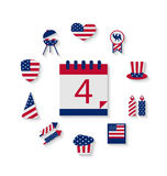 Icons Set USA Flag Color Independence Day 4th of July. Patriotic Symbolic Decoration for Holiday or Celebration Backgrounds - Vector Royalty Free Stock Images