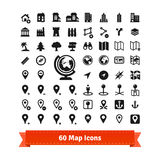 Icons set for use in internet map services. 60 map icons set. For use in internet map services and map editing. Also contains buildings. EPS 10 vector set royalty free illustration