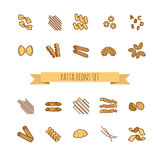 Icons set of various pasta shapes Stock Photography
