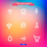 Icons Set Vector trend outline symbol web Stock Photo