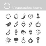 Icons set vegetables Stock Photos