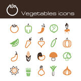 Icons set vegetables Royalty Free Stock Images