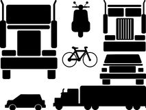 Icons set vehicles. Icons set of car, truck, bike, motorbike, bicycle etc Stock Image