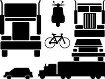 Icons set vehicles. Icons set of car, truck, bike, motorbike, bicycle etc vector illustration