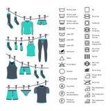 Icons set washing clothes. Icons set of instructions for washing clothes. Manual washing clothes Royalty Free Stock Photos