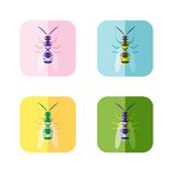 Icons set of wasp isolated flat style. Vector Stock Photos