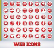 Icons Set for Web Applications. Red Edition Royalty Free Stock Photography