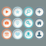 Icons set for web design, websites on gray background. Royalty Free Stock Photos