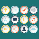 Icons set for web design, websites on green background. Stock Images