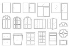 Icons set of windows types. Royalty Free Stock Photo