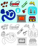 Icons set of winter including sketch Stock Photo