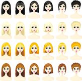 Icons set of women's. Hairstyles vector illustration