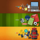 Icons set work, sport and travel in flat design. Vector Stock Images