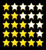 Icons Set of yeloow stars. Vector illustration Stock Photography