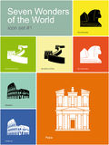 Icons of Seven Wonders of the World. Landmarks of Seven Wonders of the World. Set of color icons in Metro style. Editable vector illustration Stock Photos