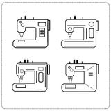 Icons sewing machines set linear sewing business. Various machines Stock Image