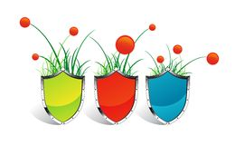 Icons SHIELD grass and flowers Stock Photography
