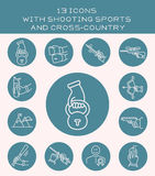 13 icons with shooting sports and cross-country. Icons with power and shooting sports Stock Photography