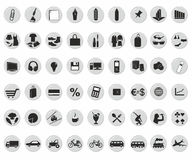 Icons. For the shop in the circle Stock Photography