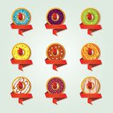 Icons for a shop selling donuts Stock Photography