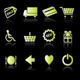 Icons - Shopping 02. Illustrations of a set of 12 shopping related icons and buttons Royalty Free Stock Images