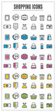 Icons shopping color blck blue pink Yellow green vector on white Stock Photos