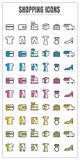 Icons shopping color blck blue pink Yellow green vector on white Stock Photography