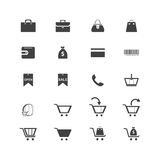 Icons of shopping items, shopping carts, bags. Royalty Free Stock Images