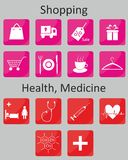 Icons Shopping and Medicine Stock Image