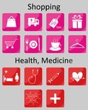 Icons Shopping and Medicine Stock Photography