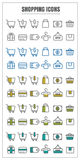 Icons shopping vector color black blue Yellow green on white bac Royalty Free Stock Photography