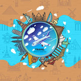 Icons sights of the world around a flying plane. Against the sky with clouds. Seamless background with a pattern tourist attractions icons. Topic Travel and Royalty Free Stock Images