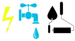 Icons sign electricity, water tap, roller and trowel. Vector image. design element, interface. Flat style. Stock Photos
