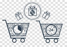 Silhouette cart  on online store. Icons , silhouette of shopping carts and shopping, gifts in a linear style. The concept sale  in the store 24 hours Stock Images